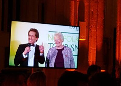 Judy Gowen (Carnival Secretary) and David Whiteley share a joke