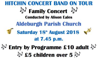 Hitchin Concert Band on tour – Saturday 18th August 2018, Aldeburgh Parish Church